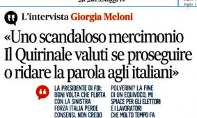 Meloni al «Messaggero»: «Conte ha messo in atto uno scandaloso mercimonio»