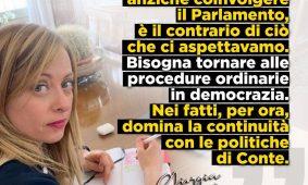 Giorgia Meloni al «Corriere della Sera»: «Bene la sostituzione di Arcuri, ma ora chiedo al Governo la discontinuità sui fatti. Basta Dpcm, si torni alla normalità della democrazia»