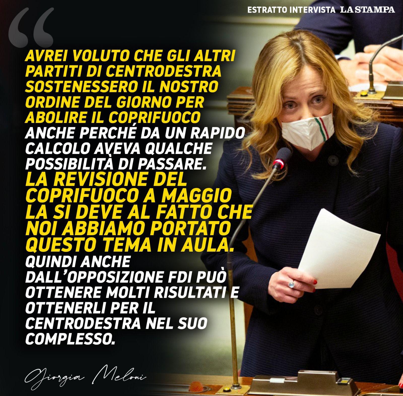 Giorgia Meloni La Stampa