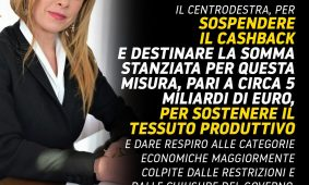 GiorgiaMelonia «Libero»: «Sospendere il cashback e destinare i 5 miliardi ai ristori»