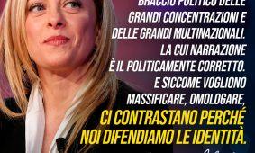Giorgia Meloni a «Quotidiano Nazionale»: «La sinistra è il braccio politico delle grandi concentrazioni economiche e delle multinazionali. Ci contrastano perché difendiamo l'identità»